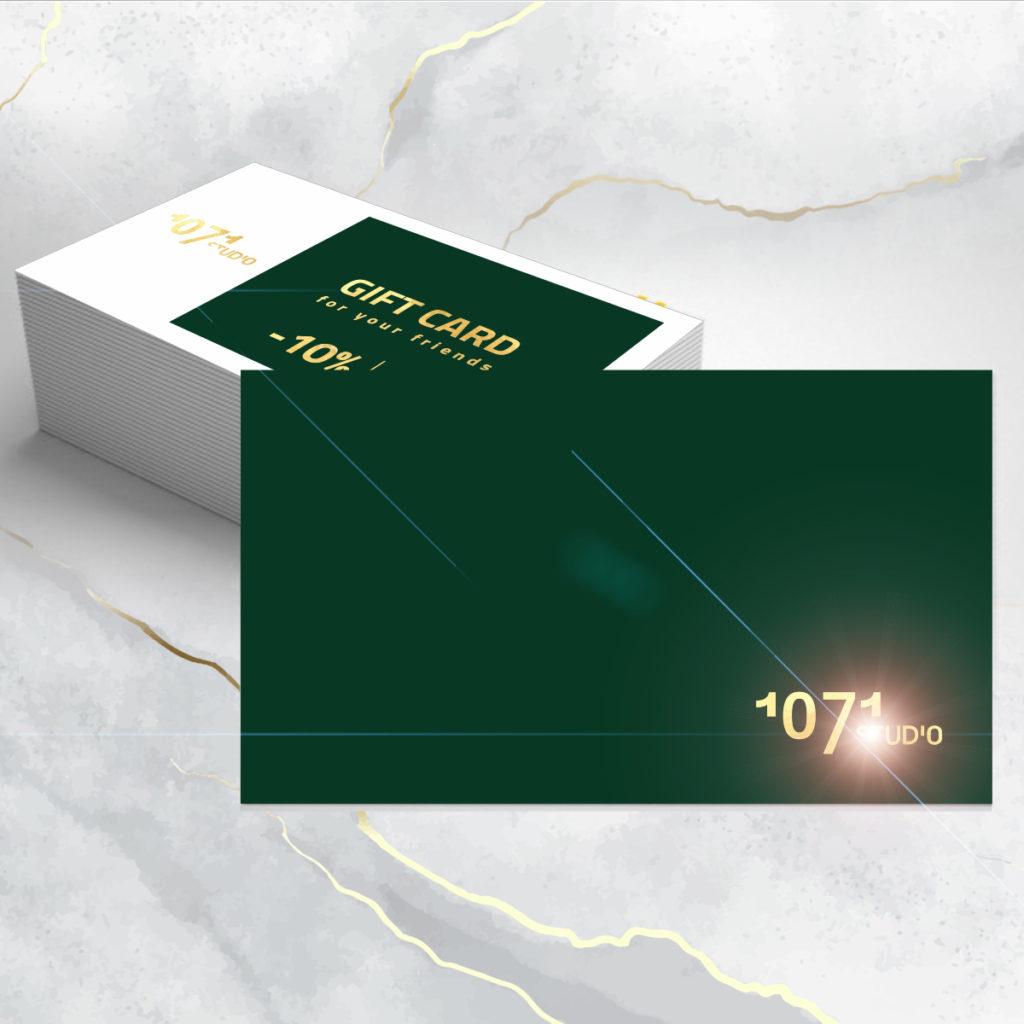 1071 studio pozłacane wizytówki
